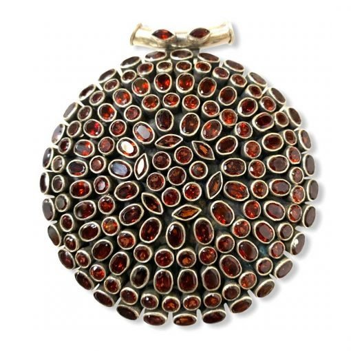 Huge Three Inches Diameter Garnet Pendant In Sterling Silver