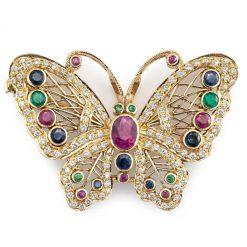 Exclusive Multi Gemstones Butterfly Pendant