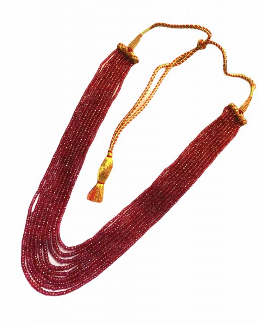 9 Lines 660 Carats Ruby Faceted Beads Necklace
