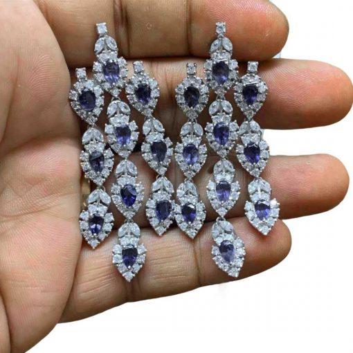 "2.5"" long Zircon and Iolite Earrings in Sterling Silver"