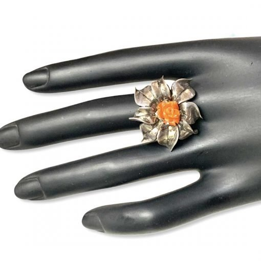 Exclusive Coral Flower Ring Made with Silver