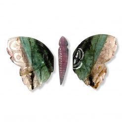 Light Pink and Green Big Tourmaline Butterfly carving
