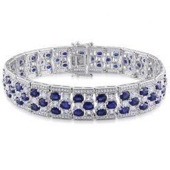 Premium Quality Sterling Silver Blue Sapphire Bracelet