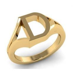 14k Solid Gold Alphabet D Ring
