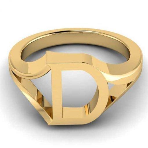 14k Solid Gold Alphabet D Ring