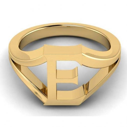 14k Solid Gold Alphabet E Ring