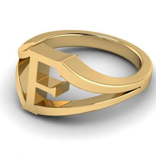 Jewelry Alphabet F Ring in 14k Gold
