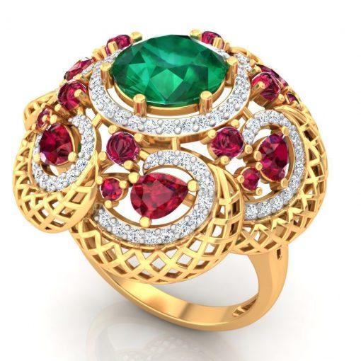 14k Big Sized Ruby Emerald Diamond Cocktail Ring