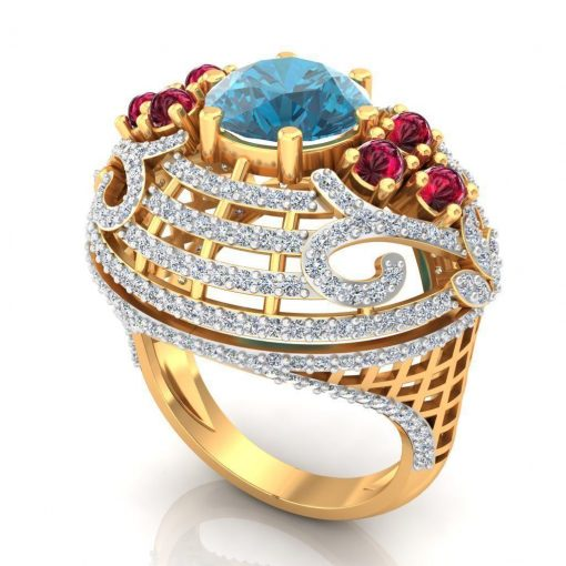 Big Sized Ruby Blue Topaz Diamond Cocktail Ring 14k Solid Gold