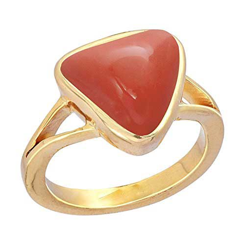 6.00 Carats Natural Coral Triangle Ring made in 18k Gold