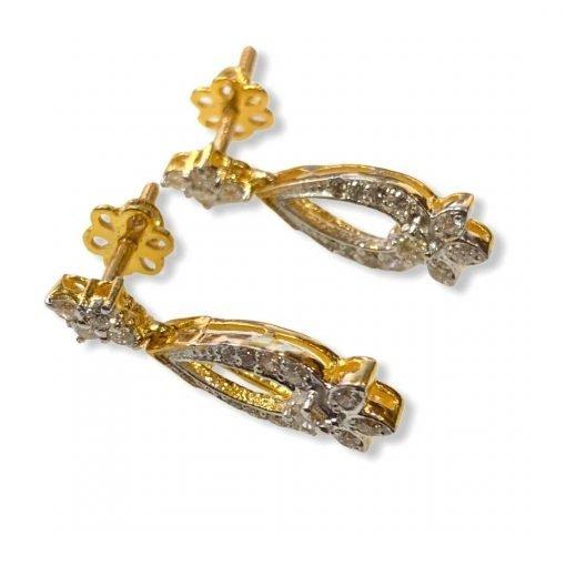 Fine Quality Diamond Earrings in 18k Solid Gold
