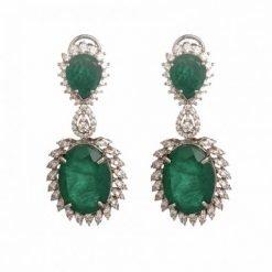Big Emerald Earrings Made in Sterling Silver