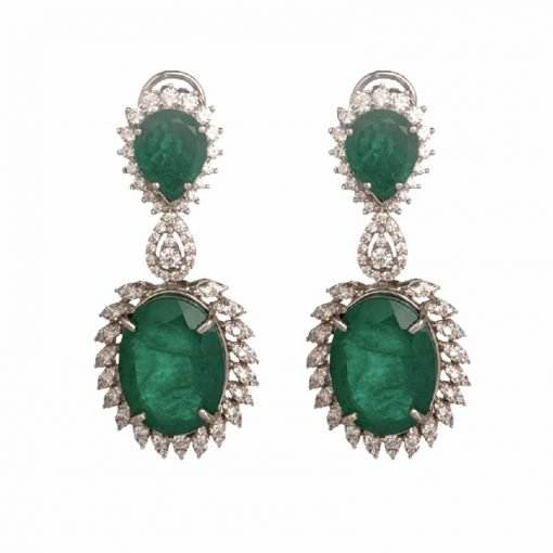 Big Emerald Earrings Made in Sterling Silver