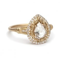 18k Solid Gold Pear Shape Rouse Cut Diamond Ring