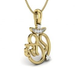 Hari Om Diamond Pendant in 14k Solid Gold