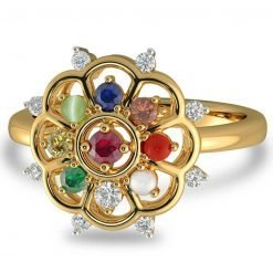 18k Solid Gold Natural Navaratna Diamond Ring