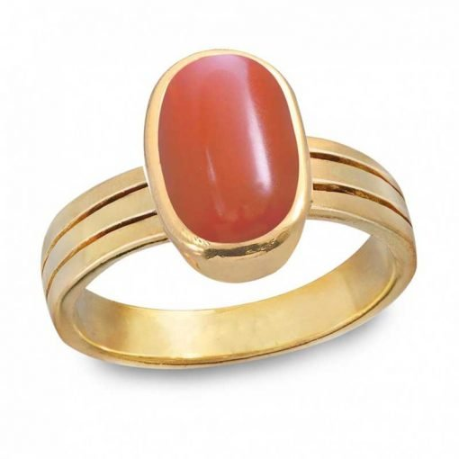 18k Gold Premium Red Coral Ring