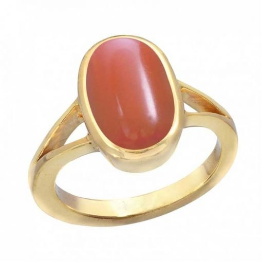18k Gold Oval Red Coral Ring