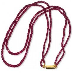 2 Lines 130.00 carats Ruby Beads Necklace
