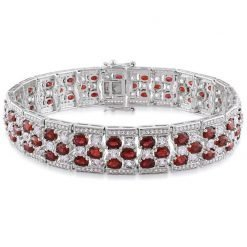 Premium Quality Sterling Silver Ruby Bracelet