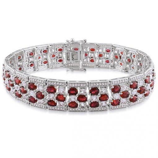 Premium Quality Sterling Silver Ruby Bracelet