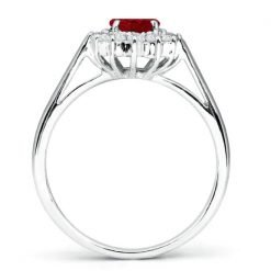 Sterling Silver Premium Ruby Cluster Ring
