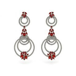 Long Ruby Earrings in Sterling Silver
