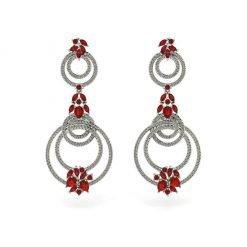Long Ruby Earrings in Sterling Silver