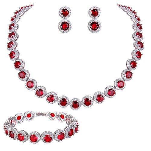 Round Cut White Topaz Ruby Tennis Necklace Bracelet Earrings