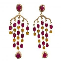 Sterling Silver Ruby And Yellow Sapphire Earrings