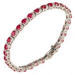Ruby and White Topaz Sterling Silver Tennis Bracelet