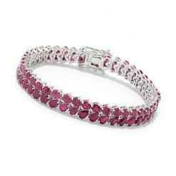 Ruby Tennis Bracelet made with Sterling Silver