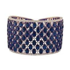 Sterling Silver Broad Cuff Sapphire Bracelet