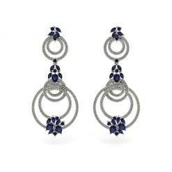 Blue Sapphire Earrings in Sterling Silver