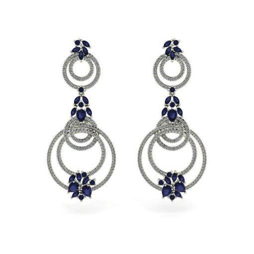 Blue Sapphire Earrings in Sterling Silver
