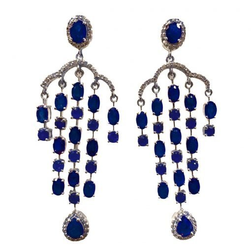 Sterling Silver Blue SapphireSapphire Earrings
