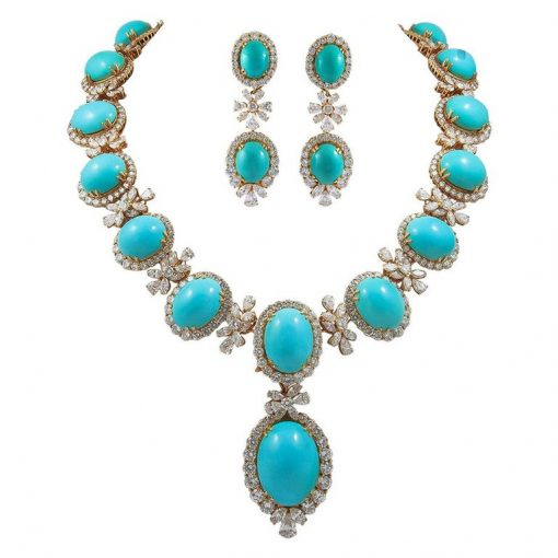 Premium Quality Turquoise Necklace with Earrings