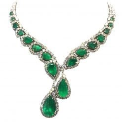 Sterling Silver Green Onyx White Topaz Necklace
