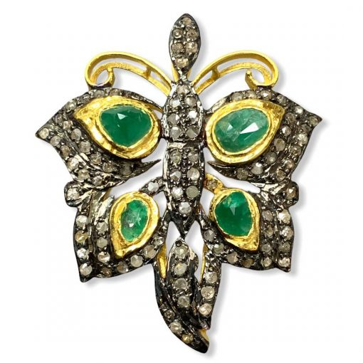 Victorian Inspired Emerald Diamond Butterfly Pendant