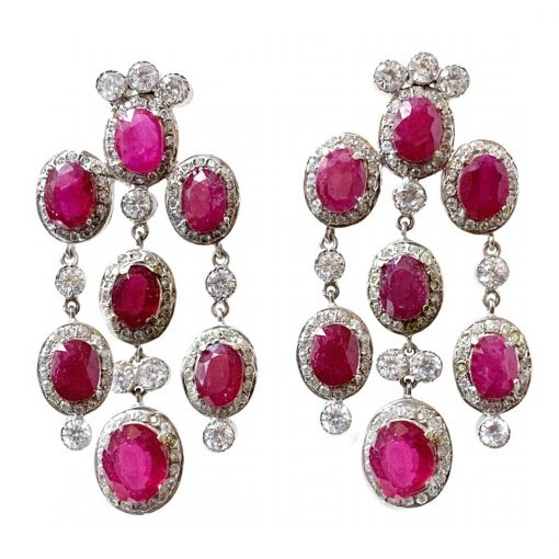 Sterling Silver long Ruby Earrings