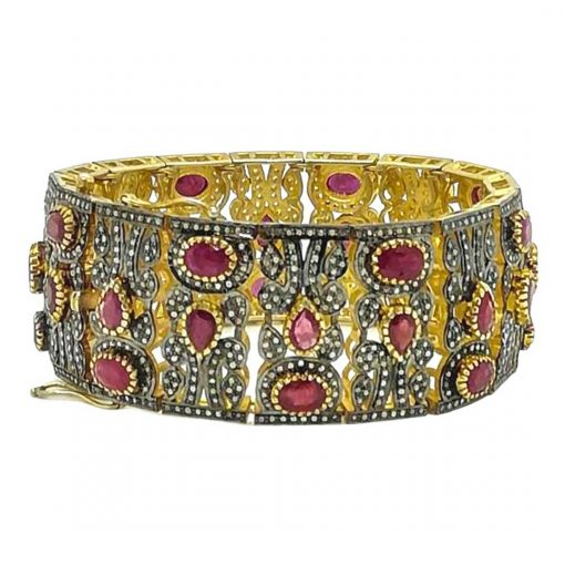 Sterling Silver Rose Cut Diamond Ruby Bangle Bracelet