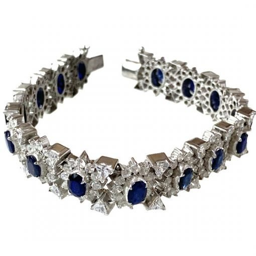 Handmade Sterling Silver Natural Sapphire Bracelet
