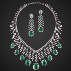 Big Bridal emerald Necklace with long Earrings
