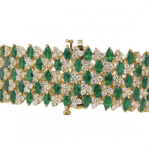 Broad Sterling Silver Emerald Bracelet