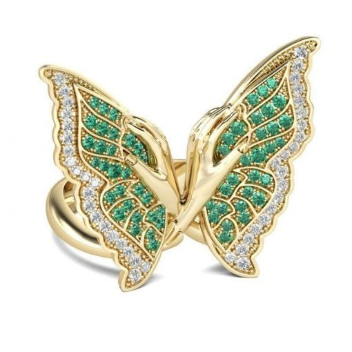 Beautiful Sterling Silver Zircon Emerald Butterfly Ring