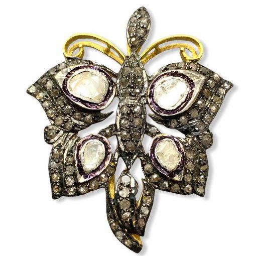 Victorian Inspired Diamond Polki Butterfly Pendant