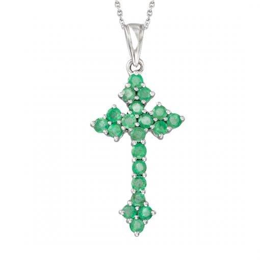 Beautiful Emerald Cross Pendant Xmas Gift