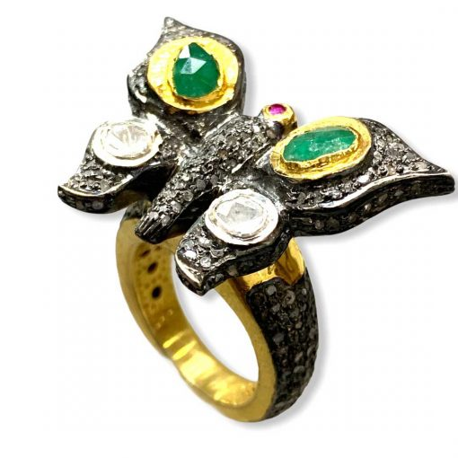 Victorian Inspired Diamond Emerald Sterling Silver Ring