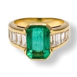 Diamond Emerald Ring made with 18k Solid Gold