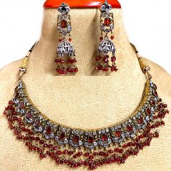 Vintage Design Garnet Chick Necklace with Earrings